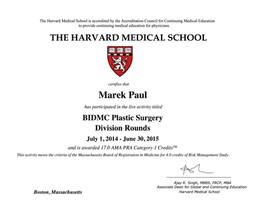 Harvard BIDMC Divisin Round Certificate