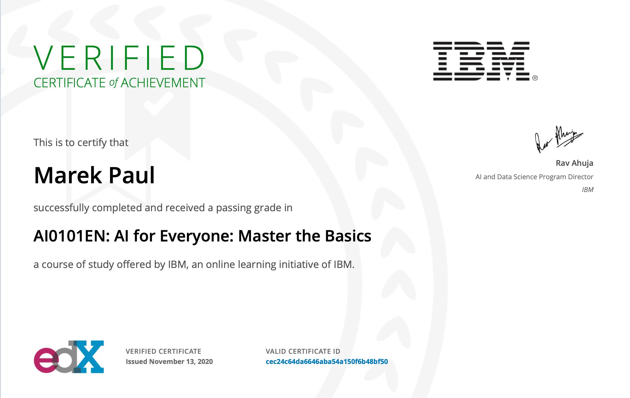 AI Basic IBM Course 2020