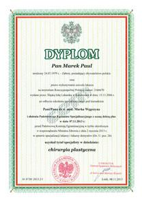 Dyplom Specjalisty Chirurgii Plastycznej / Board Certified Plastic Surgeon