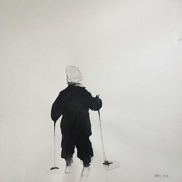 Ink on paper, Anders skiing#akvarell #bl