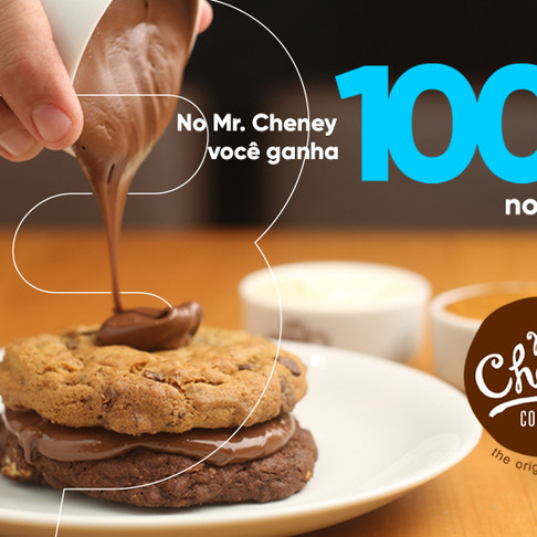 100% de Cashback de boas vindas ao Mr. Cheney Cookies do Ribeirão Shopping, é só no App 3cash!