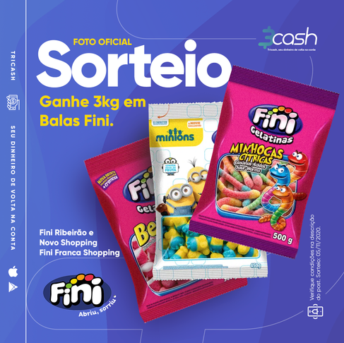SORTEIO de 3KG em Balas FINI do App 3cash! IMPERDÍVEL!!