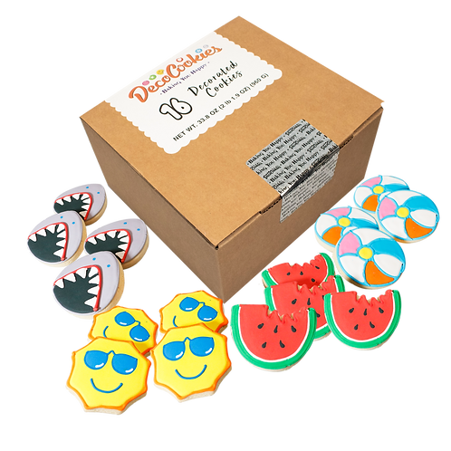 SUMMER Hand Decorated Cookies,  Butter Recipe,  Pack of 12