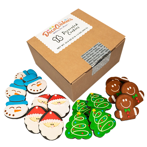 HOLIDAY Hand Decorated Cookies, Chocolate Recipe, Pack of 12