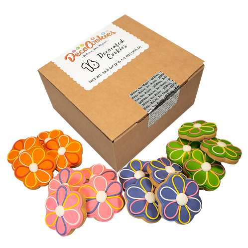 FLOWER Hand Decorated Cookies,  Butter Recipe,  Pack of 12
