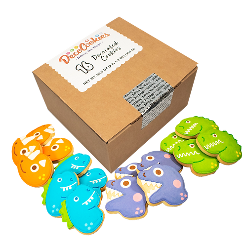 DINOSAUR Hand Decorated Cookies,  Butter Recipe,  Pack of 12