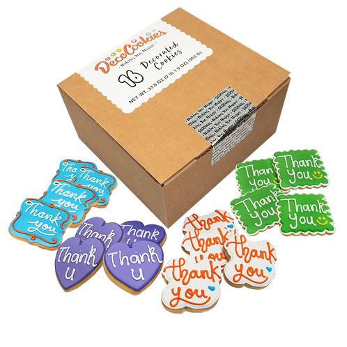 THANK YOU Hand Decorated Cookies,  Butter Recipe,  Pack of 12