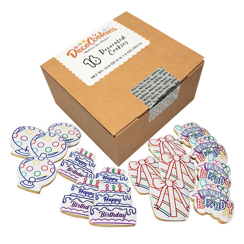 BIRTHDAY Paint Your Own Cookies Kit, Butter Recipe, Pack of 12