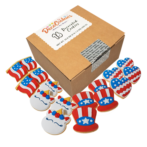 PATRIOTIC Hand Decorated Cookies,  Butter Recipe,  Pack of 12
