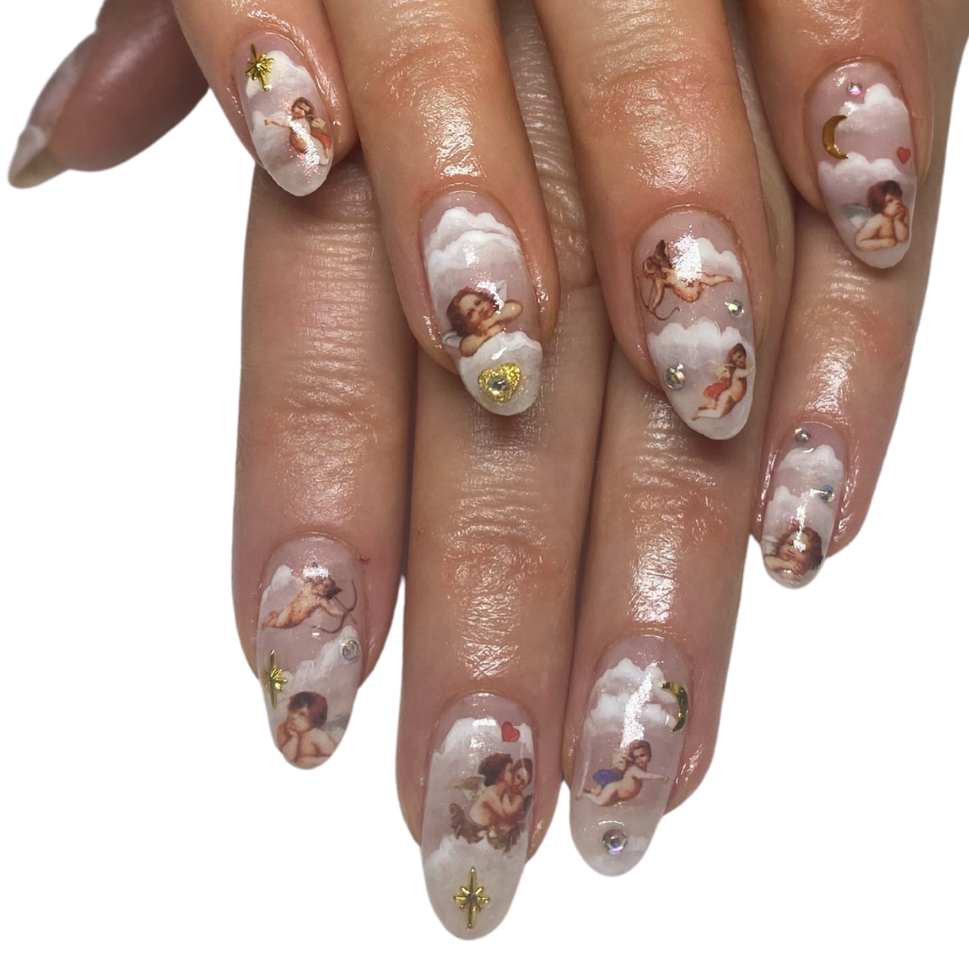 natural nails / decals / hand painted