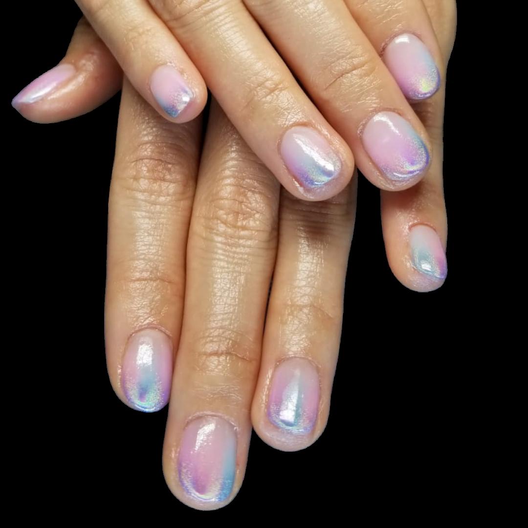 natural nails / holographic