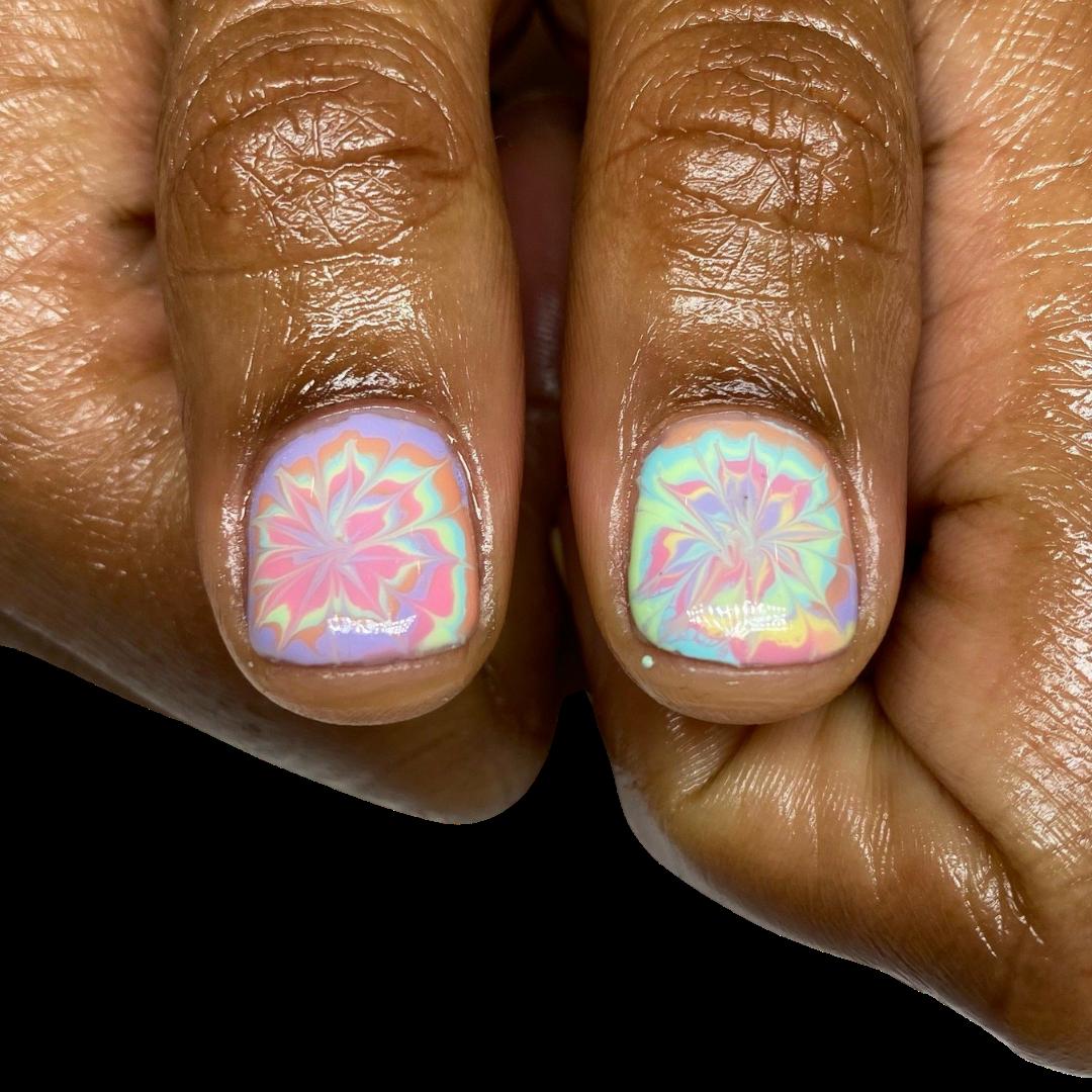 natural nail / hand painted tyedye