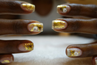 24k gold leaf w diamonds
