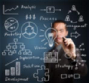 business man writing business idea concept