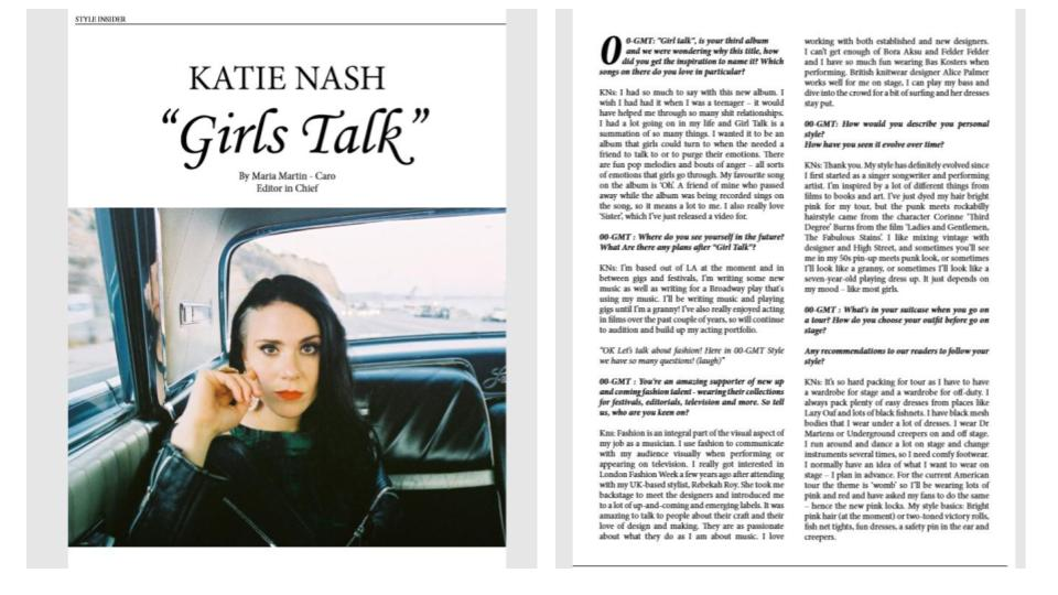 GMT STYLE-  kate Nash interview