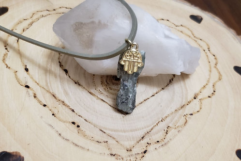 Rare Green Kyanite with Fatima Hand Pendant