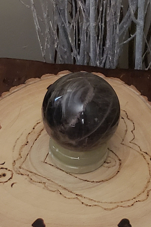 Black Moonstone Sphere with Onyx Stand