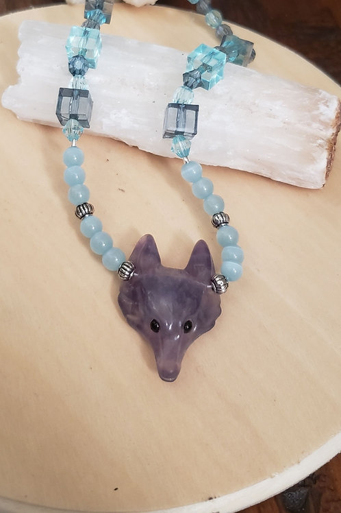 Fluorite Fox Necklace
