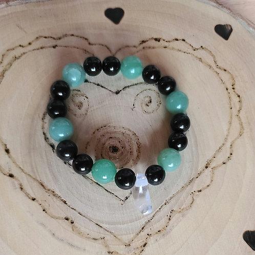 Aventurine, Obsidian, Quartz Bracelet