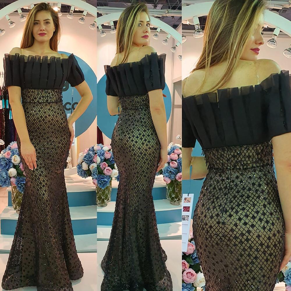 فستان أسود طويل رائع موديل حورية البحر