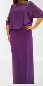 فستان سهرة ليلكي طويل للاحجام الكبيرة