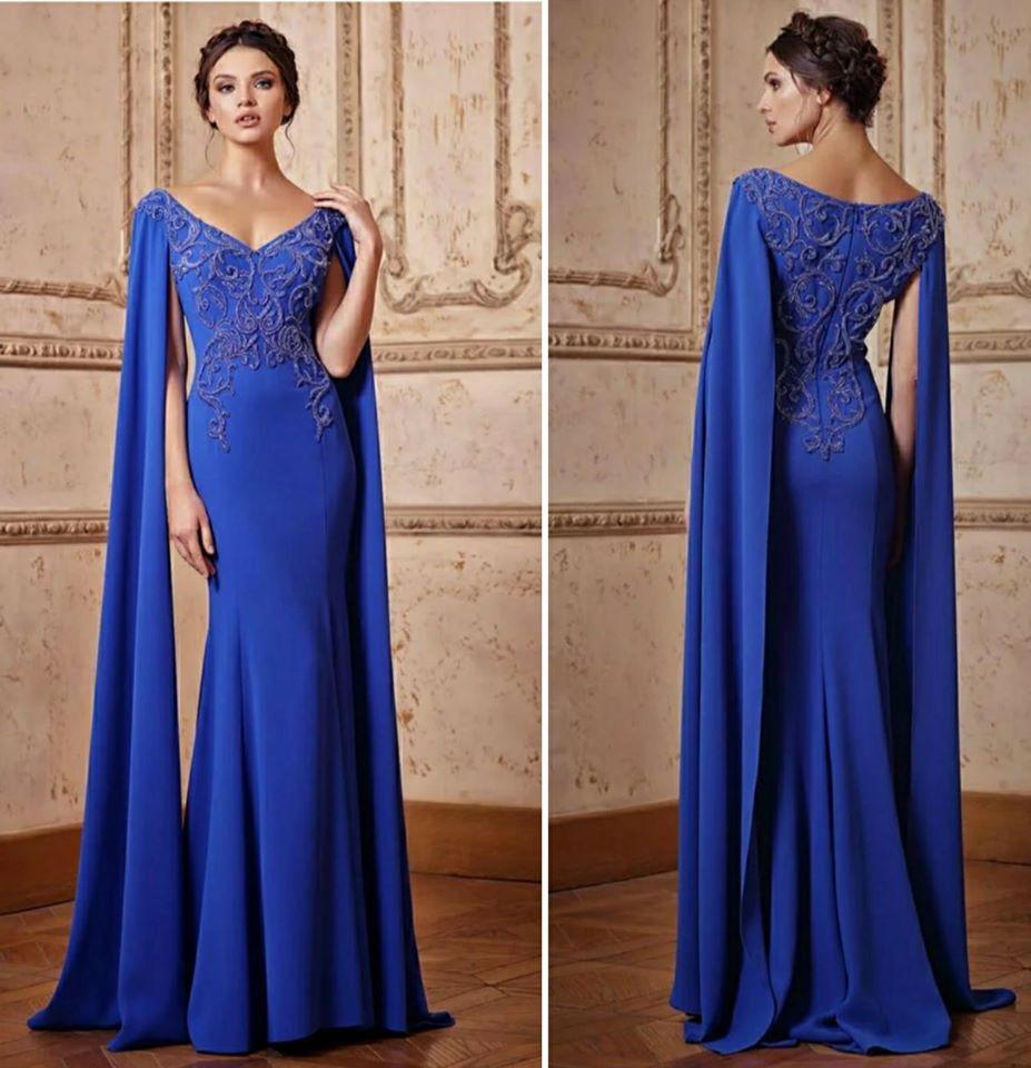 True Blue long evening dress Italian design