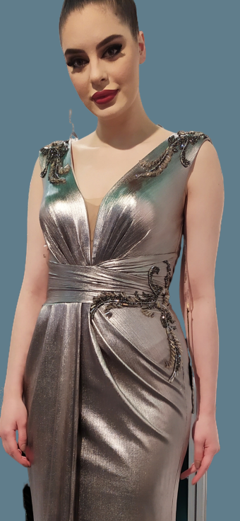 Metallic color evening dress from Scarlet couture SS20