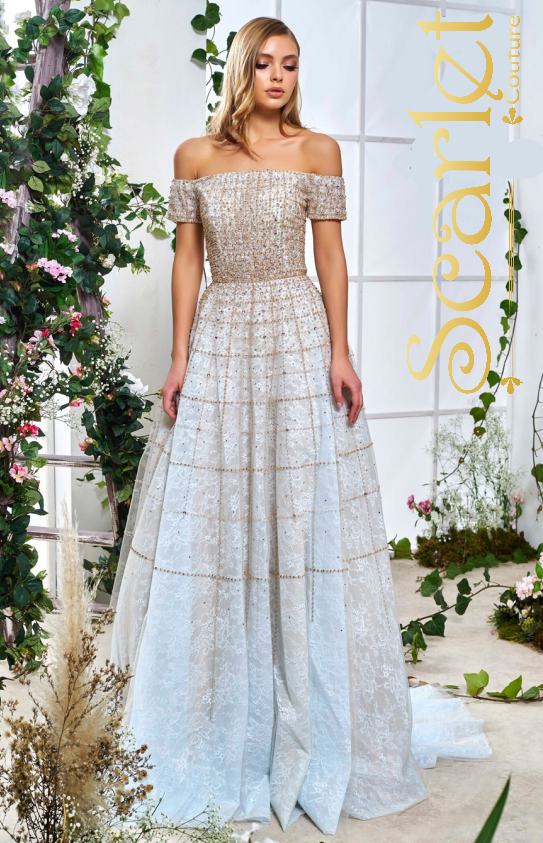 beaded flowy tulle evening gown