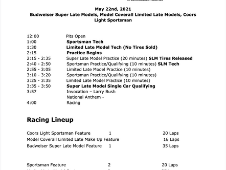 May 22nd Race Day Schedule