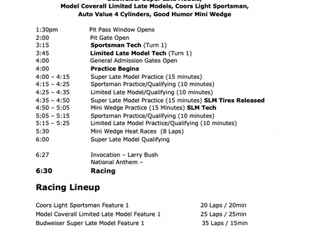 June 19th Race Day Schedule