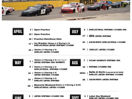 Here is Berlin Raceways 2021 Tentative Race Schedule