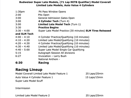 May 29th Race Day Schedule