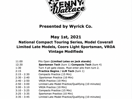 May 1st Race Day Schedule
