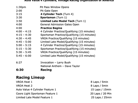 June 5th Race Day Schedule