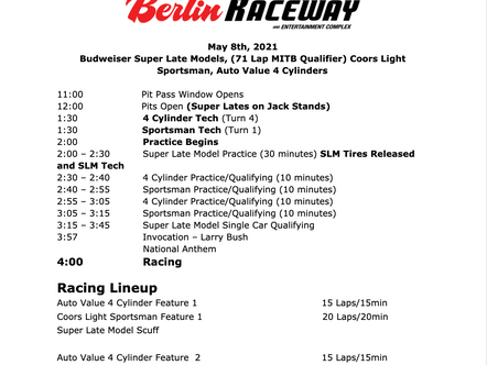 May 8th Race Day Schedule