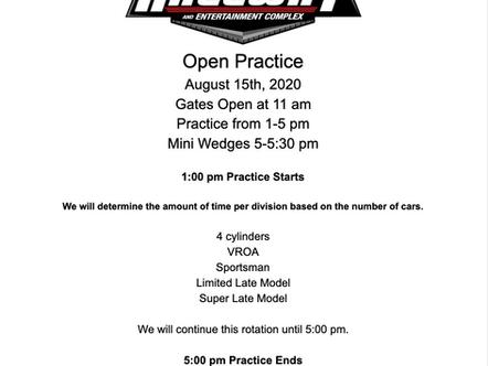 Open practice Aug. 15th