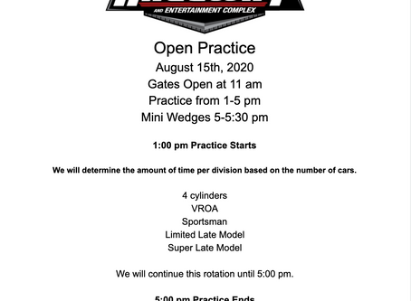 Open practice Aug. 15th