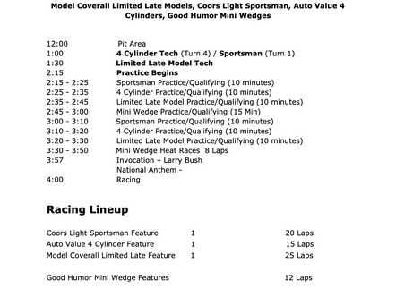 May 15th Race Day Schedule