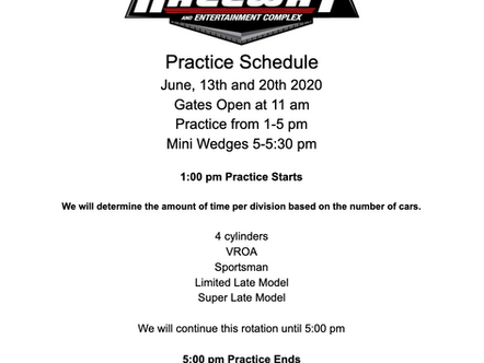 Saturdays Practice Schedule