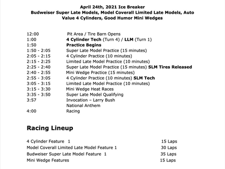 April 24th Race Day Schedule