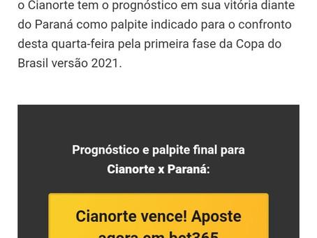 SITE DE APOSTAS INDICA VITÓRIA DO CIANORTE CONTRA O PARANÁ CLUBE