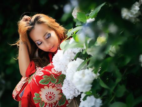 紫陽花で作品撮り。