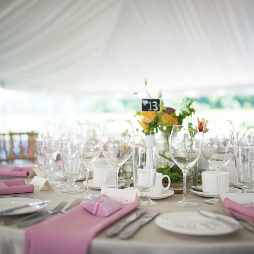 table in a wedding tent