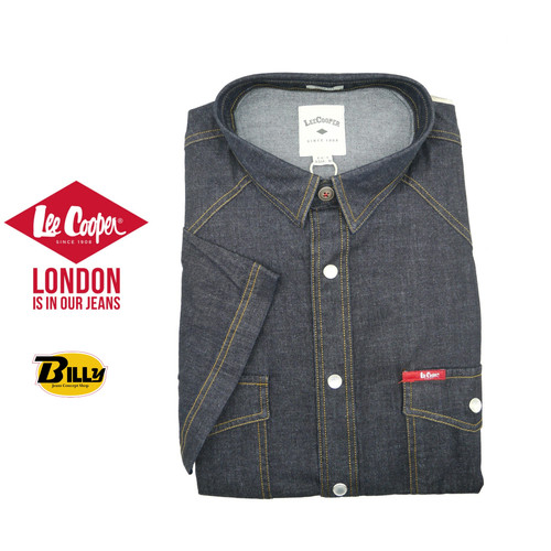 6524d945 LEE COOPER Raw Black Short Sleeve Denim Shirts(C-302-SB)