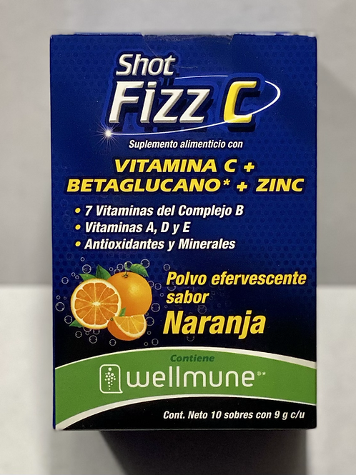 Shot Fizz C (Vitamin C+Betaglucano+Zinc) orange flavor powder packages