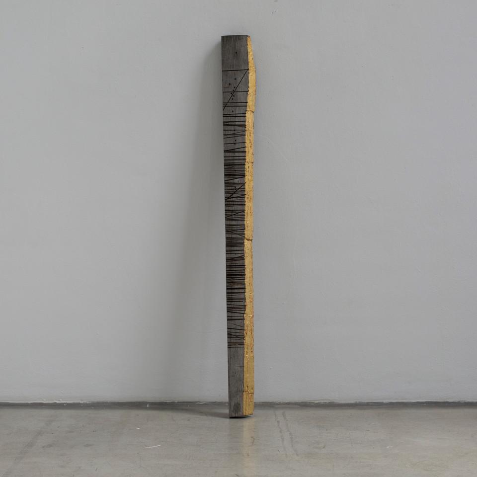 Stele 2016, Holz vergoldet 103x14,5x4 cm