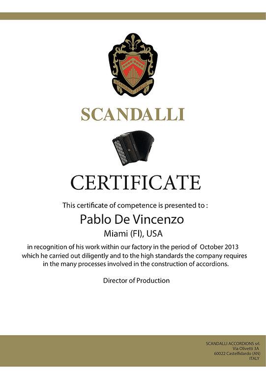 Pablo De Vincenzo, Accordions by De Vincenzo. Miami, FL 33196 USA