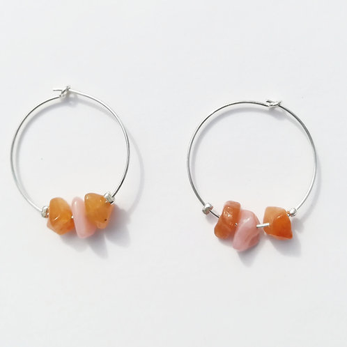 créoles petite taille en argent, jaspe orange et opale rose