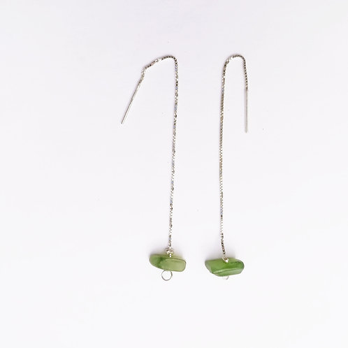 Boucles d'oreilles pendante argent et jade néphrite