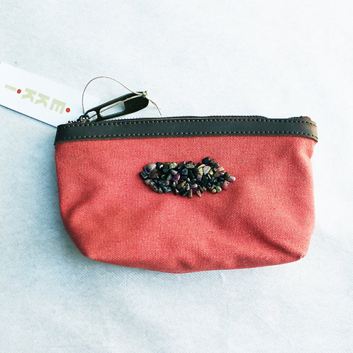 trousse corail - broderies tourmaline